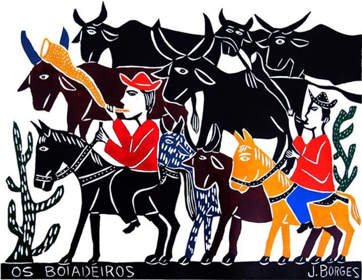 J. Borges, Os boiadeiros, Xilogravura em cordel. Foto: Divulgação.