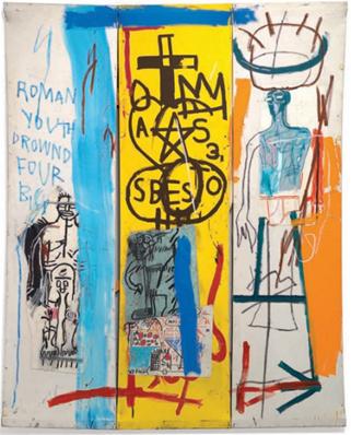 """""""Four Big"""" (1982), de Jean-Michel Basquiat – imagem do catálogo da exposição individual de Basquiat no Centro Cultural Banco do Brasil em 2018"""